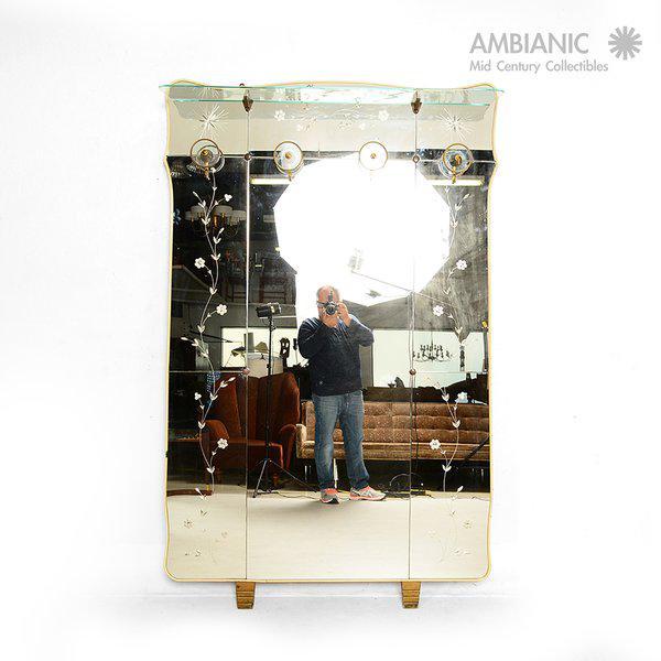 Vintage Italian Full Length Mirror with Shelf & Hooks After Fontana Arte - Image 2 of 11