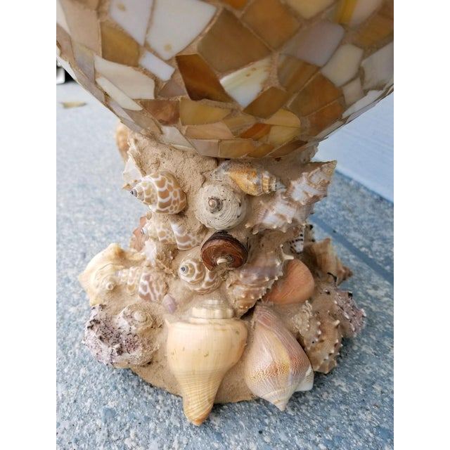 Large Glass Mosaic Vases With Shell Encrusted Base For Sale - Image 9 of 11