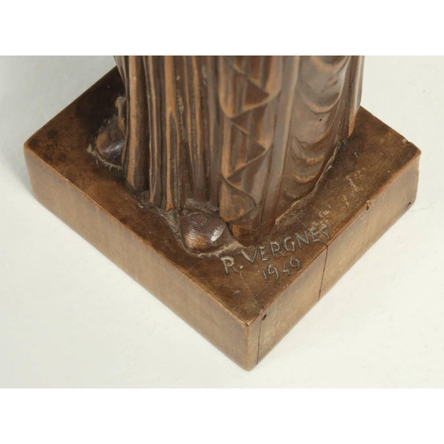 1940s Wood Carving by the French Sculptor R. Vergnes, Circa 1949 For Sale - Image 5 of 9