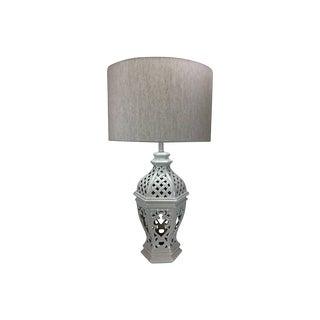 1960's Blanc-De-Chine Ceramic Basket Lamp For Sale