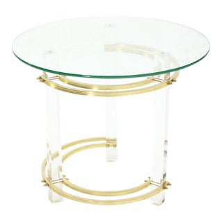 Vintage Mid Century Charles Hollis Jones Round Lucite and Brass Side Table For Sale