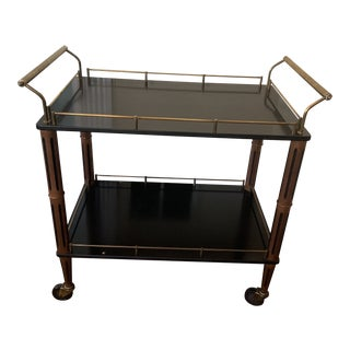Mid Century Black and Brass Hollywood Regency Style Bar Cart For Sale