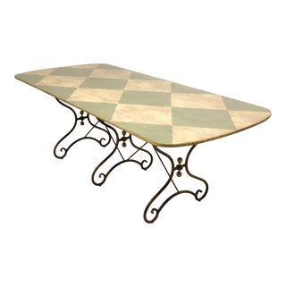 Drexel Heritage Cottage Style Faux Marble Dining Table With Metal Base For Sale