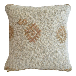 """Hand Woven Throw Pillow Cover. Pure Natural Hemp Kelim Pillow - 16"""" X 16"""" For Sale"""