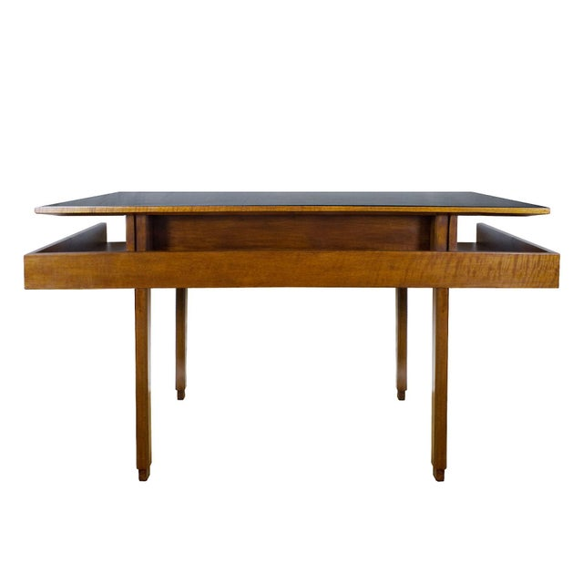 Metal 1970s Rationalist Desk by Pietro Bossi, Waxed Walnut, Brass, Formica - Italy For Sale - Image 7 of 13