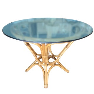 Restored Rattan Dining Table With Round Glass Top For Sale