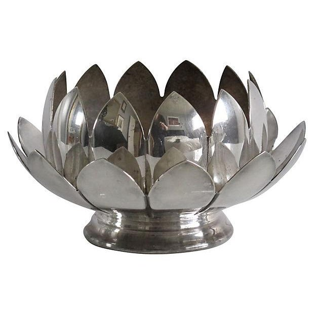 Nesting Silver Lotus Candleholder & Bowl - Image 1 of 4