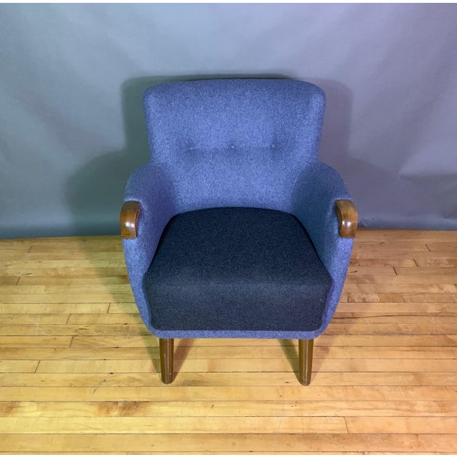 1950s Danish Armchair, New Kvadrat Felted Wool Upholstery For Sale - Image 10 of 11