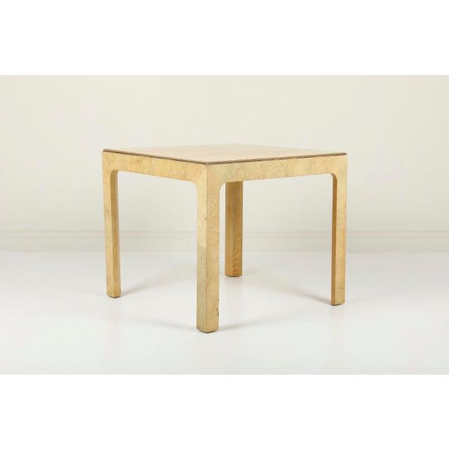 Beautifully figured vintage Henredon Burled Olive Wood dining table from the Scene 2 collection. Scene 2 | Henredon USA,...
