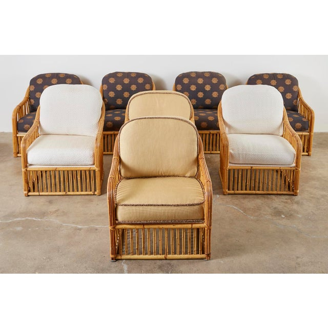 Set of Eight Michael Taylor Organic Modern Bamboo Lounge Chairs For Sale - Image 11 of 13