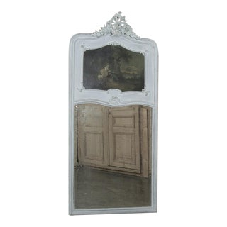 19th Century French Louis XV Painted Trumeau / Mirror For Sale
