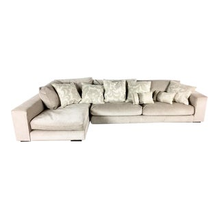 Minotti Mid Century Modern Style Italian Upholstered Sectional Sofa For Sale