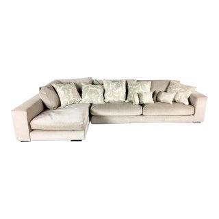 Minotti Mid Century Modern Style Italian Upholstered Sectional Sofa For Sale