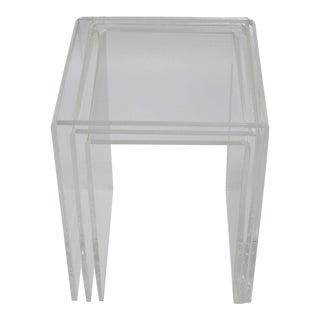 Clear Bent Lucite Waterfall Nesting Tables - Set of 3