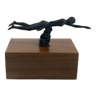 Vintage Mid-Century Bronze Female Swimmer Sculpture For Sale