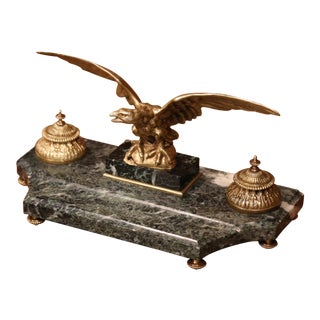 19th Century French Green Marble Inkwell With Bronze Eagle and Ink Containers
