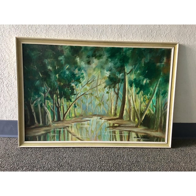 1940s Forest Painting on Board Framed - Image 2 of 6
