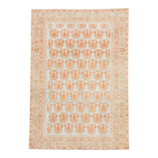 """1910s Antique Geometric Accent Hand-Knotted Rug - 4'2"""" X 5'10"""" For Sale"""
