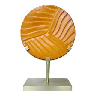 Carved Cascade Disc on Brass Stand For Sale