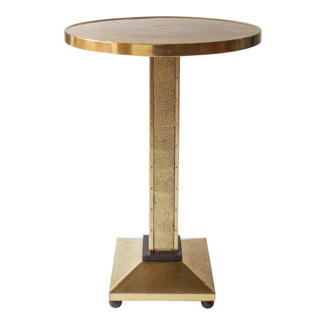 Rare Secessionist Hammered Brass and Painted Pedestal Table For Sale
