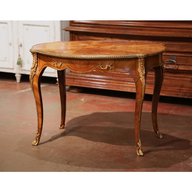 19th Century French Louis XV Oval Walnut Marquetry and Bronze Center Table For Sale - Image 13 of 13