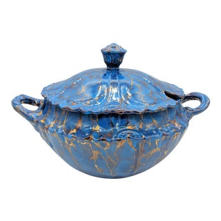 20th Century Contemprary Blue and Gold Ceramic Soup Tureen For Sale