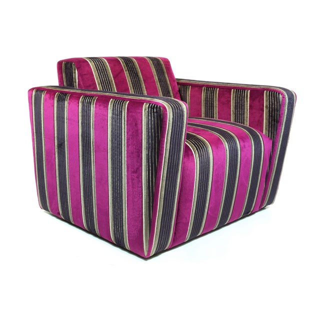 British Airways First Class Striped Club Chair - Image 10 of 10