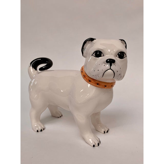 Large Italian Ceramic Pug Puppy Dog Figures - a Pair For Sale In New York - Image 6 of 12