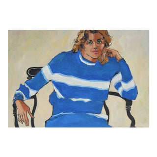 "Rip Matteson ""Oakland, Linda"" Portrait With Blue and White Striped Sweater Oil Painting, 1971 For Sale"