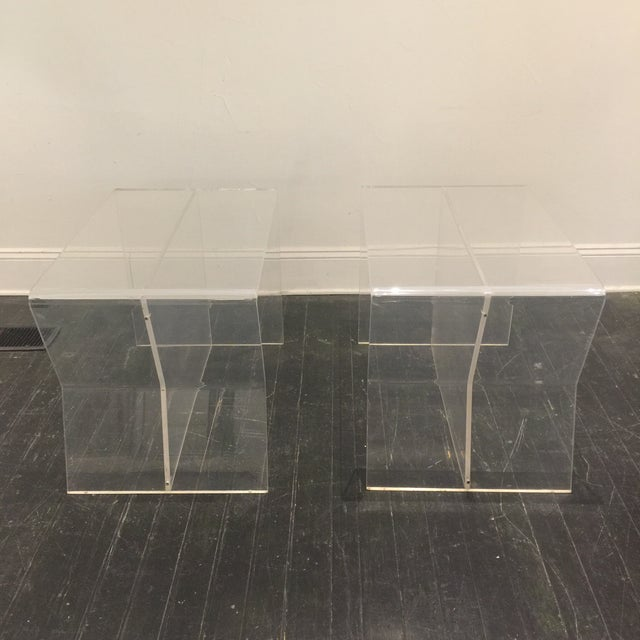 Contemporary 1970s Modern Charles Hollis Jones Lucite Side Tables - a Pair For Sale - Image 3 of 10