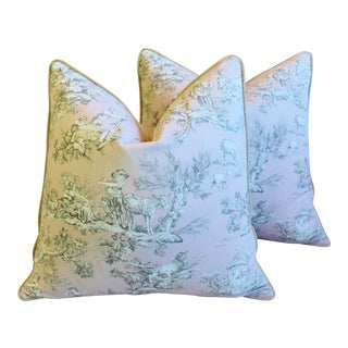 """Custom French Countryside Toile Feather/Down Pillows 24"""" Square - Pair For Sale"""