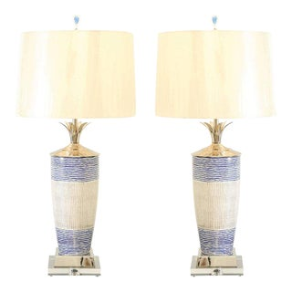 Exquisite Pair of Handmade Portuguese Ceramic Vessels as Custom Lamps