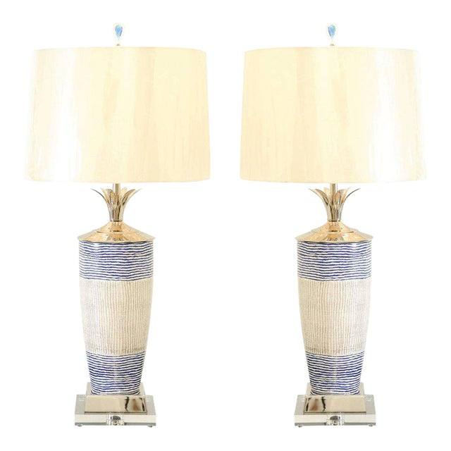 Exquisite Pair of Handmade Portuguese Ceramic Vessels as Custom Lamps For Sale