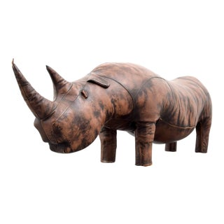 Large Leather Rhinoceros Attributed to Abercrombie & Fitch