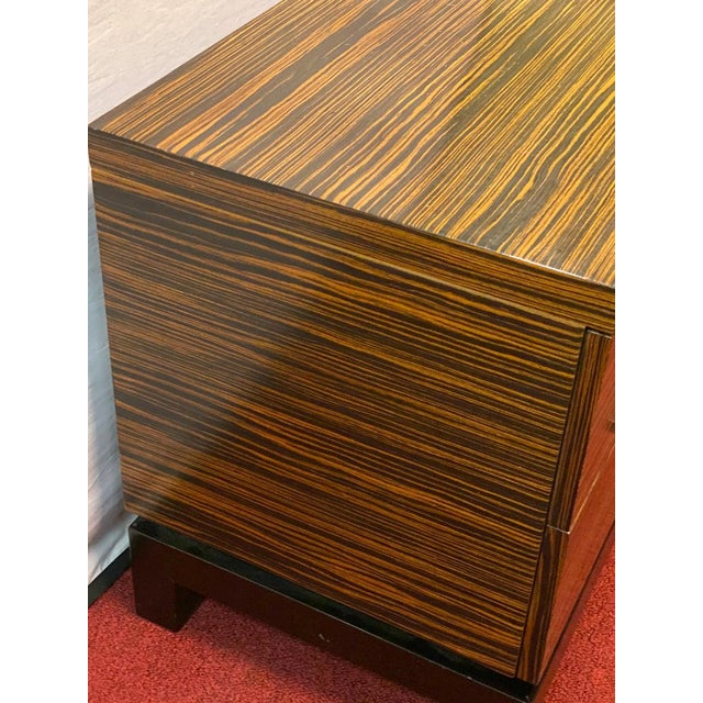 Brown Hollywood Regency Style Zebra Wood End Tables / Nightstands or Chests, a Pair For Sale - Image 8 of 11