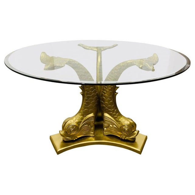 Gold Brass Dolphin Center Table For Sale - Image 8 of 8