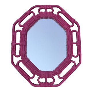 Vintage Bamboo Link Homco Pink Mirror For Sale