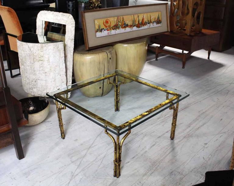 Gilt Metal Faux Bamboo Thick Glass Top Square Coffee Table   Image 6 Of 6