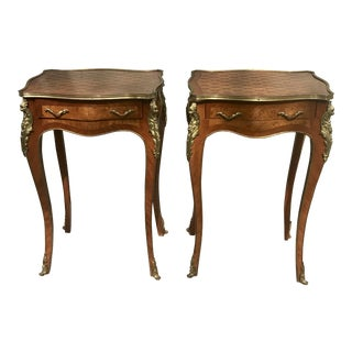 French Louis XV Style Fruitwood Marquetry Night Table- A Pair