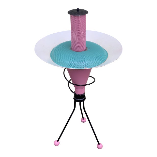 Space Age Memphis Style White Blue and Pink Lamp by Richard Gos For Sale