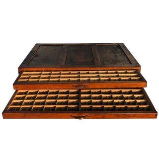 Antique Pine 2 Drawer Letterpress Bindery Cabinet Chest