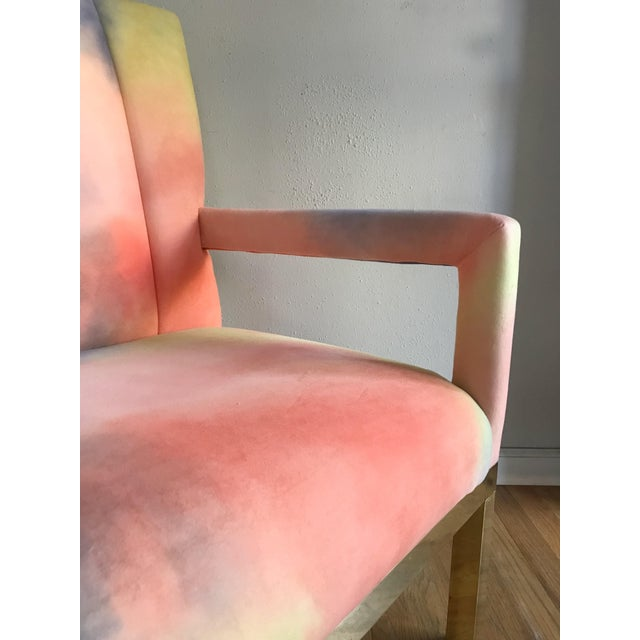 Mid Century Colorful Velvet Upholstered Brass Base Arm Chairs -A Pair For Sale In Portland, OR - Image 6 of 9