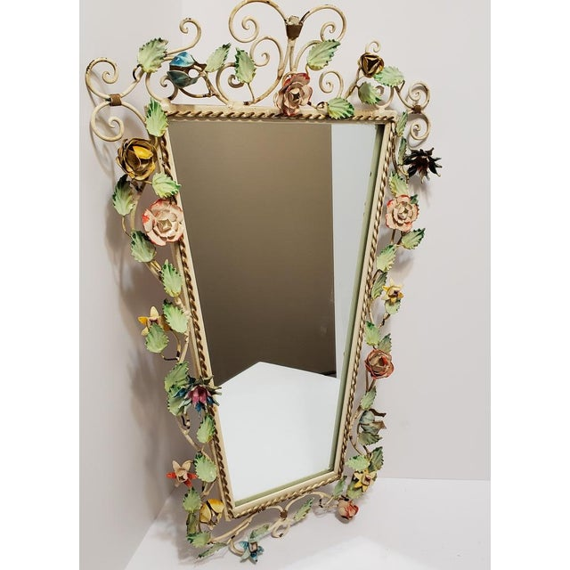 Vintage Italian Shabby Chic Floral Tole Wall Mirror For Sale - Image 4 of 10