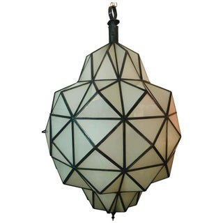 Art Deco White Milk Dome Shape Chandelier, Pendant or Lantern For Sale