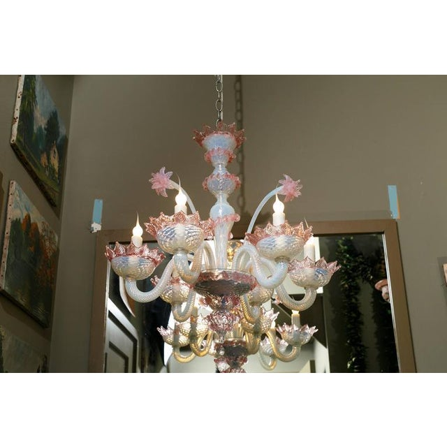 Hand-blown classic Murano glass chandelier from Italy, circa 1940. Newly rewired with UL listed parts and six candelabra...
