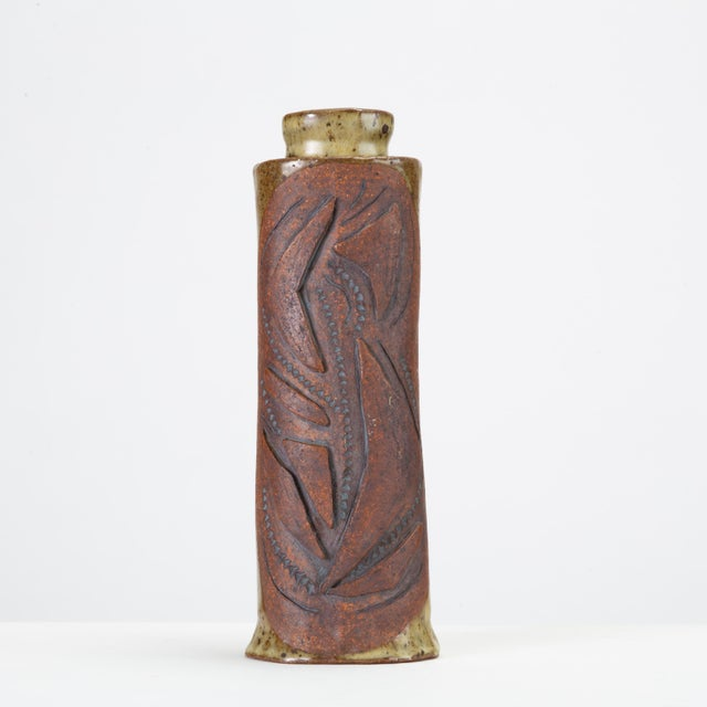 Green Hand-Built Studio Pottery Vase With Raised Details For Sale - Image 8 of 8