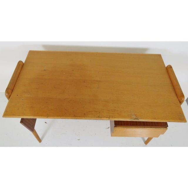 Modern Italian Ico Parisi Style Teak Desk - Image 3 of 5