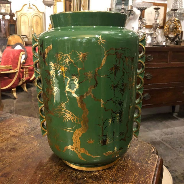 1960s Italian Mid-Century Modern Green and Gold Ceramic Vase For Sale - Image 11 of 13