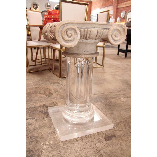 Granite 18th Century Granite Top Column with Plexi Base For Sale - Image 7 of 9
