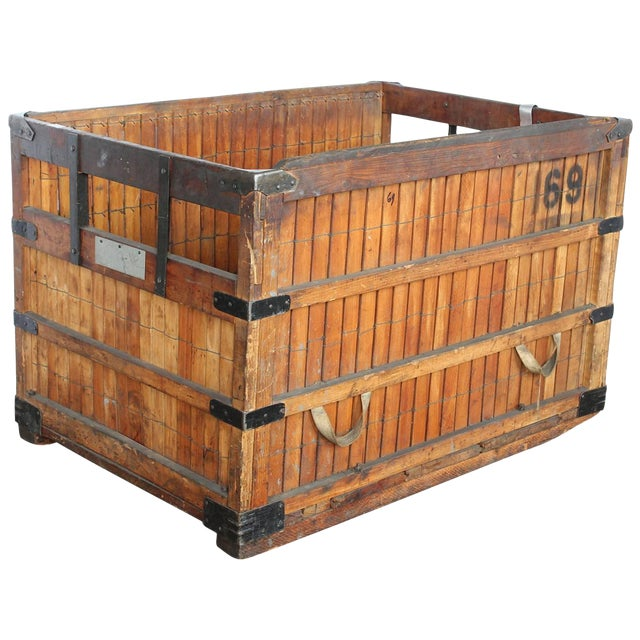 1930's Antique American Industrial Wood Crate For Sale